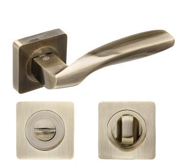 Комплект дверных ручек с поворотником Gavroche Germanium Ge-A1+A1-WC