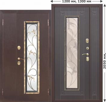 Коттеджная входная металлическая нестандартная дверь со стеклопакетом Ferroni Цитадель Плющ