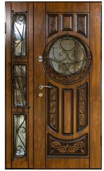 TIRAS DOOR Металические двери производства ПМР Д-32  4 стекла Патина замки (Kale)