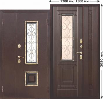 входная металлическая нестандартная дверь со стеклопакетом Ferroni Цитадель Венеция